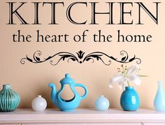 Kitchen The Heart Of The Home Vinyl Wall Decal, Kitchen Wall Decals, Heart Of Home, Decals, Kitchen Quote, Housewarming, Vinyl Wall Art