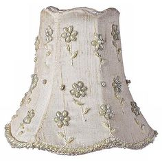 Ivory Pearl Flower Silk Bell Shade 2.75x5x4.75 (Clip-On)