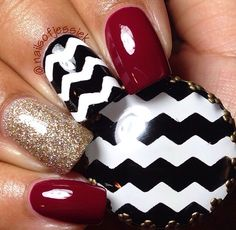 Chevron nails, perfect for fall! By @nailsofjessiek