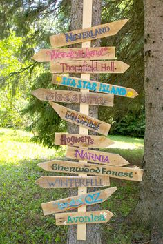 Beneath the Rowan Tree: Which Way Shall We Go? DIY Literary Garden Sign Tutorial--put on a post in the ground to have signs point four directions instead of two.