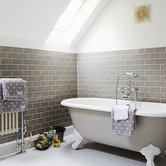 Neutral bathroom with metro tiles | Small-space bathroom ideas | Bathroom | PHOTO GALLERY | Housetohome.co.uk