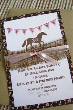 Printable Pony / Horse Birthday Party Invitation by Shanzusc, $15.00