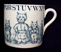 """Charles Allertons Staffordshire ABC Mug Cup ~ Louis Wain """"Cats in the Garden"""", England, 1890"""