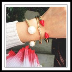 ❤️ NEW... Red Enamel Spike Bracelet ! New from T&J Designs. Material content: base metals, resin. Lead free Nickel free. Ask about price drop for potential discount shipping! T&J Designs Jewelry Bracelets