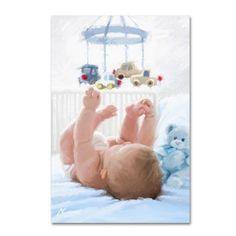Trademark Fine Art 'Baby in Cot' Canvas Art by The Macneil Studio, Size: 12 x 19, Blue