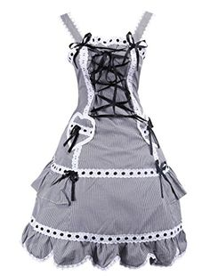 Hugme Black And White Cotton Lolita Dress * You can get more details by clicking on the image-affiliate link.