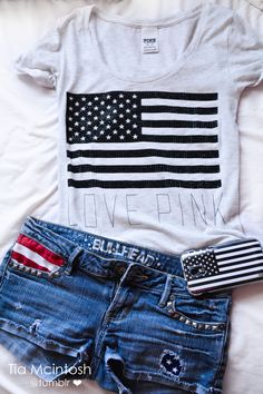 Love Pink Tshirt with Shorts and USA phone case. 4th of July outfit maybe?