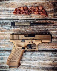 #bacon #winklerknives #glock19 Deci să înceapă #2019 Bacon, Hand Guns, Instagram, Firearms, Pistols, Pork Belly