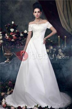 Aライン床まで高さバト‐?ネックライン半袖Talineウェディングドレス