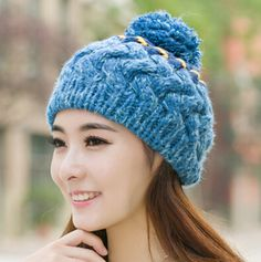 Large hairball cable knit hat for women bobble caps winter wear