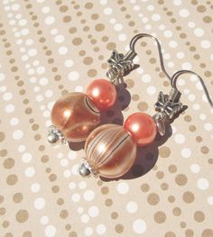 PEACH and COCOA Swirl Glass Bead by CedarCoveCreations on Etsy