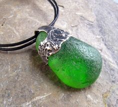 Kelly Green Beach Glass and Fine Silver Pendant by KathyVanKleeck