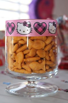Add Hello Kitty ribbon to a glass and use for party snacks.