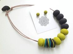 Beautiful modern polymer clay necklace beaded necklace fimo