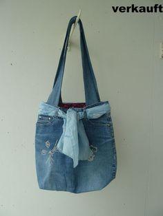 Tasche aus alter Jeans - Katze