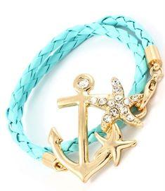 Teal Leather Nautical Anchor Bracelet Wrap Gold Crystal Sea Life Bangle Sailor   eBay