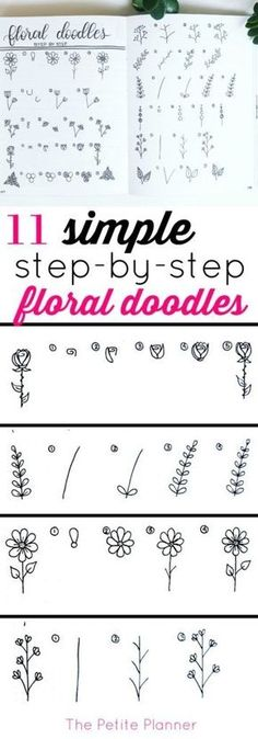 11 Simple Step-by-Step Floral Doodles to add to your bullet journal #bujo #bulletjournaling #journaling by freida