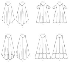 B6350 | Butterick B6350 Misses' Sleeveless and open-Shoulder Tent Dress Patterns