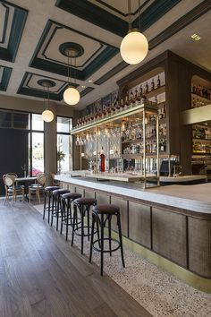 Located in the Northern Athenian suburb of Neo Psychiko, Papillon is an all-day bar & restaurant that embodies the bistro culture of Paris and New York in both spirit and aesthetics. Wine Glass Shelf, Glass Shelves, Wall Shelves, Shelving, Cafe Bar, Cafe Restaurant, Restaurant Layout, Modern Restaurant, Design Commercial