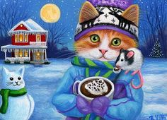 Kitten cat mouse hot cocoa snowman house Christmas original aceo painting art #Miniature: