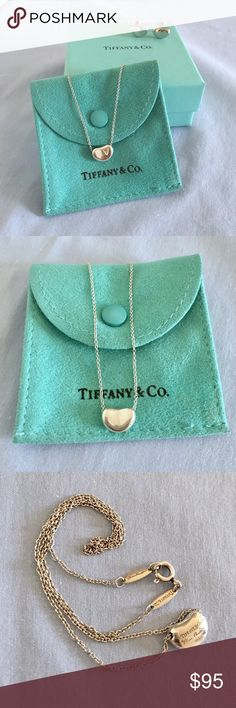 """Tiffany & Co. Elsa Peretti Beam Pendant Necklace *Tiffany & Co. Elsa Peretti Bean Necklace with matching earrings. Necklace is 100% AUTHENTIC purchased at Tiffany & Co. store. See markings on back of necklace in pic above. Sterling silver pendant is 9mm wide on 16"""" chain. Condition: pre-owned and will show signs of normal usage with slight scratches only. Has been cleaned and polished.                                                                    *The earrings are INSPIRED pieces as I…"""