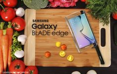 Samsung is proud to announce the world's first smart knife with smartphone capabilities, the Galaxy BLADE edge. Galaxy BLADE edge is the ultimate Best April Fools Pranks, April Fools Day Jokes, Pac Man, Smartphone, Samsung Galaxy S6, Kitchen Knives, Kitchen Gadgets, Kitchen Tools, 5 April