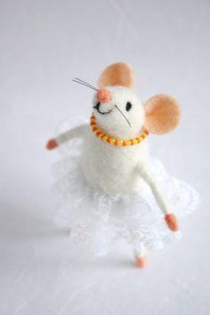 Felt mouse girl Felt mice Needle felted mouse by HappyMouses