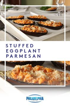 The fam just got a new fave. This Stuffed Eggplant Parmesan, with rice, tomato sauce, Parmesan and Philly, is filled to the brim with all things delicious. Vegetable Recipes, Vegetarian Recipes, Low Carb Recipes, Healthy Recipes, Healthy Salads, Eating Healthy, Crockpot Recipes, Cooking Recipes, Low Carb Appetizers