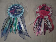 Winners ribbons crafted for the Kentucky Derby party for best hat and race winner.