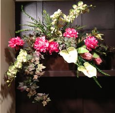 #Anthurium, Orchids and peony arrangement