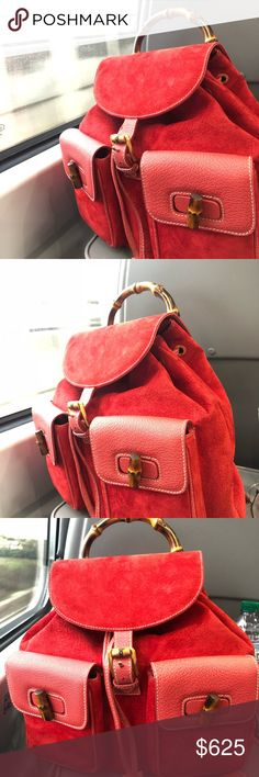 c0bca42047b5 Gucci Red Suede   Leather Bamboo Turnlock Backpack Bought it from what goes  around comes around
