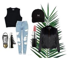 """Untitled #21"" by martineeikefjord on Polyvore featuring Topshop, Converse, Nika, New Black, MAC Cosmetics and Glamorous"