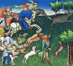 Book of the Hunt was written by Gaston Pheobus, the Count of Foix& Viscount of Bearn. He was born in 1331, wrote this book sometime between May 1387, & his death in 1391. The dogs illustrated in this manuscript were trained as warriors forblood lust. The book addresses different types of game; the care& training of hounds; methods of hunting wild animals;& traps& snares.