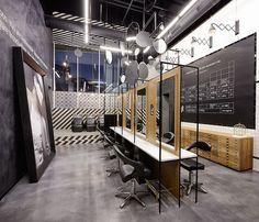 """Os visionários designers do estúdio Creneau International aceitaram o desafio de criar a identidade do novo salão de beleza da """"R Salon"""". O trabalho resultou em um ambiente único, composto por três distintos ambientes: uma estação de trem, uma cantina colegial e uma confortável sala de estar. O resultado ficou incrível. E para dar um toque moderno a estrutura, espelhos foram suspensos por todo o forro. Veja mais imagens do ambiente: http://bit.ly/1Glw2y6 #ambientes #beleza #salao"""
