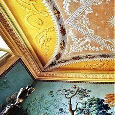 "(John Yunis) Conte Pietro Pesenti, Conte Agliardi, Villa Agliardi, Bergamo, Part 7: Sala della Caccia ceiling, Part 2:  According to the caption: ""The ceiling of the Sala della Caccia is painted to resemble ace tightly stretched shawl."" In the foreground is one of the steel and ormolu vases on the bedposts. From an old World of Interiors, photo by Jacques Dirand. #JohnYunis #italy #italian #empire #lombardy #mansion #villa #estate #decorazioni #decor #deco #decorat #decorate #decoração…"