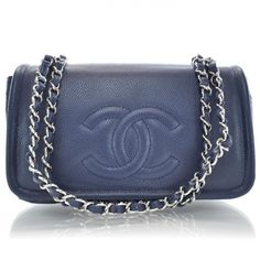 23ff95076d4542 This is an authentic CHANEL Caviar Timeless Medium Flap in Navy NEW. This  stylish shoulder