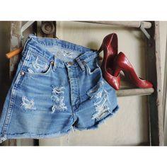 Vintage Denim Jean Shorts Distressed Wrangler Shorts Shredded Denim... ($64) ❤ liked on Polyvore featuring shorts, cut off shorts, ripped denim shorts, cut off jean shorts, cutoff shorts and denim shorts