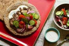 """Chicken Shawarma (Grilled) with Tomato-Cucumber Salad: """"..this is shawarma lite — """"lite"""" because while it is healthier than other shawarma recipes out there, it's also much faster and easier."""" 