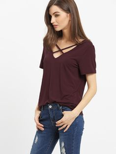 Online shopping for Burgundy Criss Cross Front Casual T-shirt from a great selection of women's fashion clothing & more at MakeMeChic.COM.