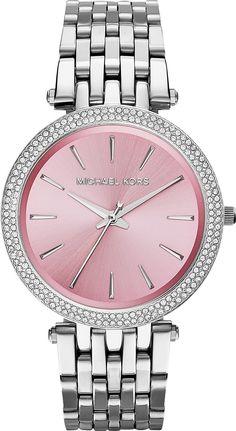 a395d55f7191 New Michael Kors Darci Silver Pink Stainless Womens Glitz Watch