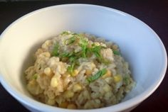 Summer Corn Risotto. Went really well with Salmon, I thought. I didn't good process any of the corn and thought it was fine to skip that step.