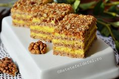 PRAJITURA KRANTZ - Rețete Fel de Fel Romanian Desserts, Romanian Food, Romanian Recipes, Eat Dessert First, Food Festival, Cakes And More, Sweet Treats, Good Food, Dessert Recipes