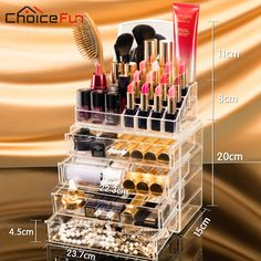 CHOICE FUN 4 Drawers Acrylic Makeup Organizer Lipstick Nail Polish Clear Plastic Cosmetic Storage Box With Mirror SF 1029M 4-in Storage Boxes & Bins from Home & Garden on Aliexpress.com | Alibaba Group
