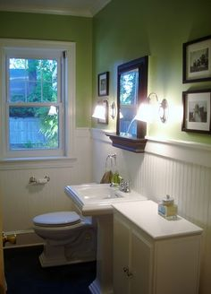 1949 Bathroom after.  Love the wainscot!