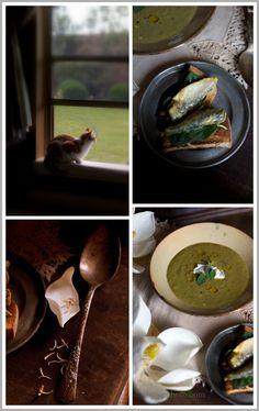 Roasted Asparagus Soup with Creme Fraiche
