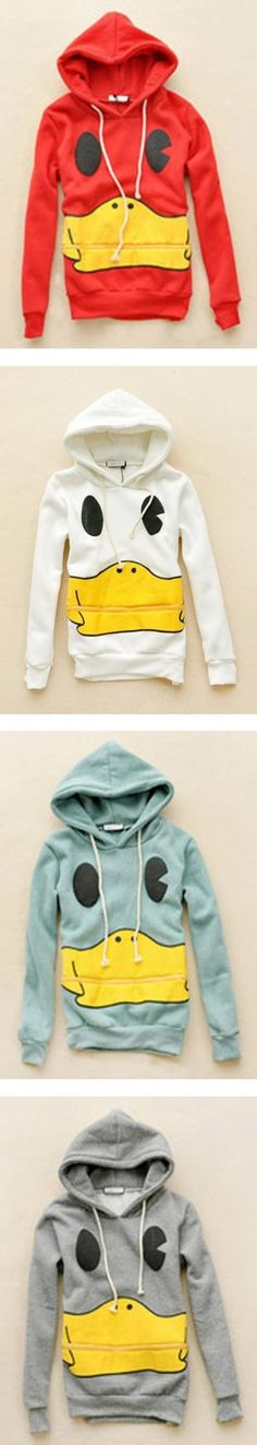 """Cartoon Mouth Hooded Long-sleeved Sweatshirt$41."" by udobuy ❤ liked on Polyvore"