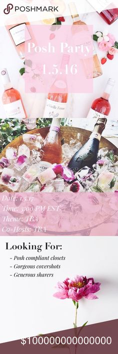 ⭐️ I'm Hosting a Party! ⭐️ ⭐️ I'm Hosting a Party & You're Invited! ⭐️  Date: January 5, 2017 Time: 3:00 PM EST Theme: Best in Makeup Co-Hosts: @laga  I'll be keeping an eye out for: 🍸 Posh compliant closets 🍸 Gorgeous covershots 🍸 Poshers with high share numbers  Let's party! 🍾  xoxo, Erica 🍾 Other