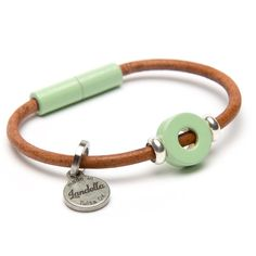 Lovely mint green natural leather Landella disc bead bracelet with ultra-strong magnetic clasp