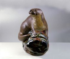 Handcrafted Pottery River Otter Sculpture