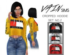 The Sims Resource: Cropped Hoodie Set No2 by VainSims • Sims 4 Downloads